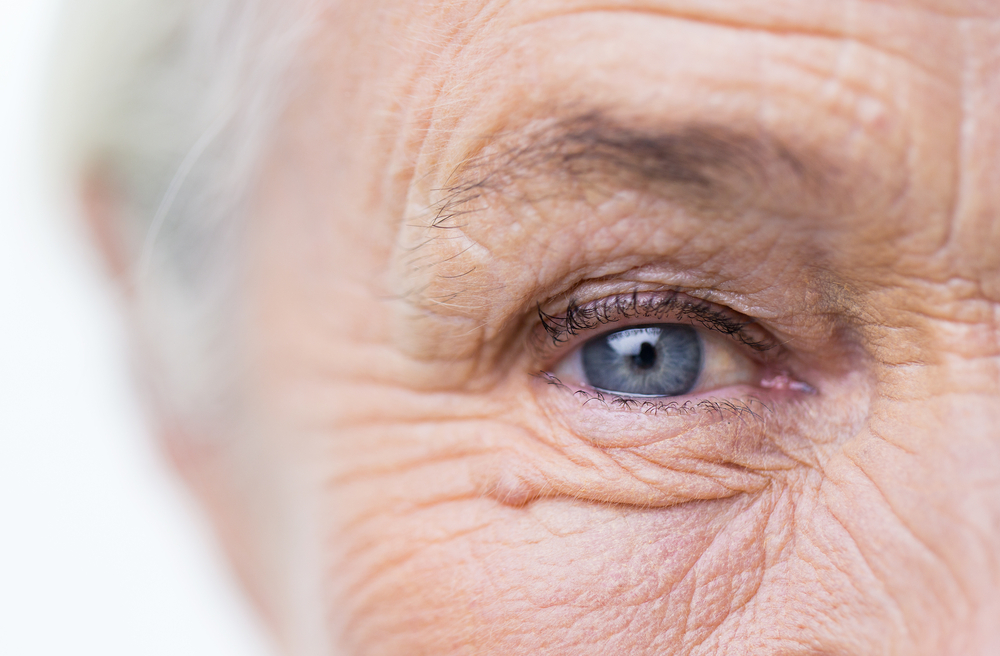Close up of senior woman's face and eye