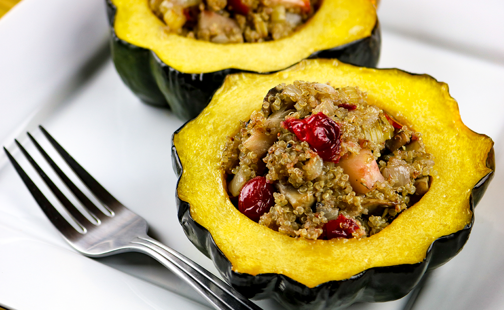 Photo of apple stuffed acorn squash