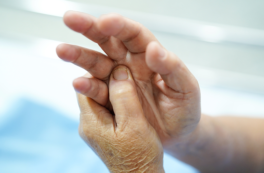 Closeup of an elderly person's hands